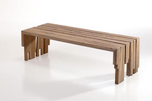Aan tafel bvba lage tafel bank in eik structuur - Darblay en hout ...